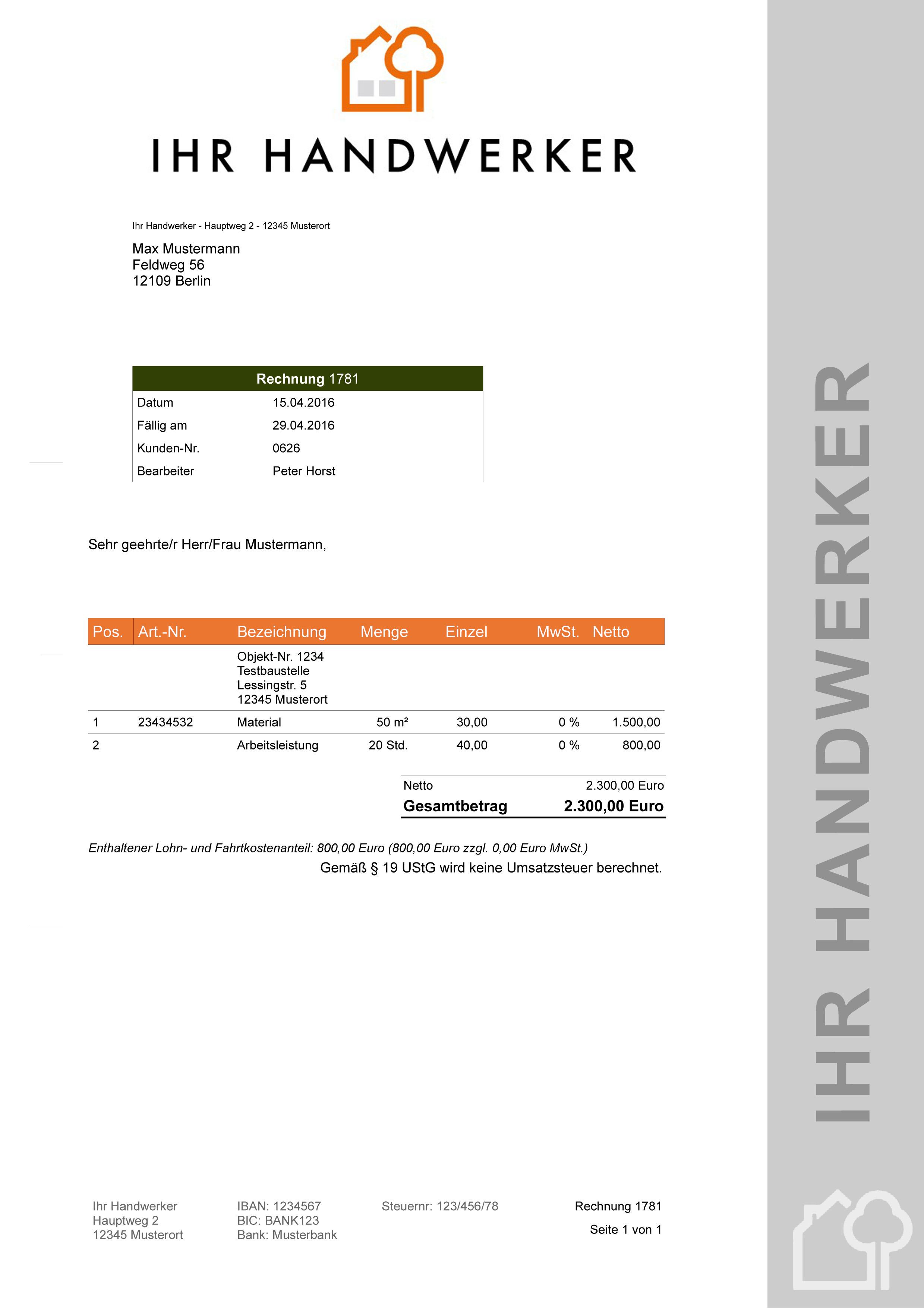 Atemberaubend Elektriker Rechnung Vorlage Bilder - Entry Level ...